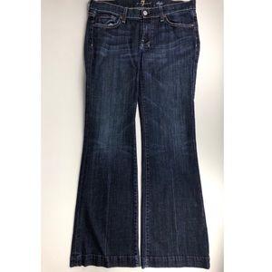 7 For All Mankind Dojo Dark Wash Flare Jeans Sz 28